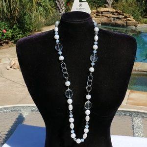Elegant Long Boho Crystal Pearl Statement Necklace
